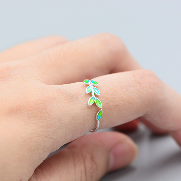 Bohemian Vintage Silver Color Leaf Rings for Women Wedding Jewelry Large Adjustable Antique Engagement Rings Anillos 5