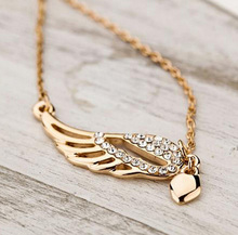 2017 Rushed Collares Maxi Necklace Collier New Angel Wings Pendant Necklace Fashion Women Charming Chain Chocker Free Shipping