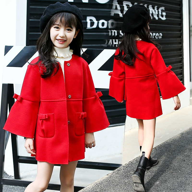 Girls Coats for Kids Single Breasted Outerwear Girls Wool & Blends Infant Jackets 4 8 10 12 Years Girls Warm Clothes Child Coats