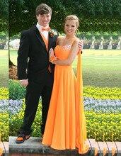 2016 Sweet Orange One Shoulder Bridesmaid Dresses Beads A Line Chiffon Floor-Length Vestido De Festa Robe Demoiselle D'honneur