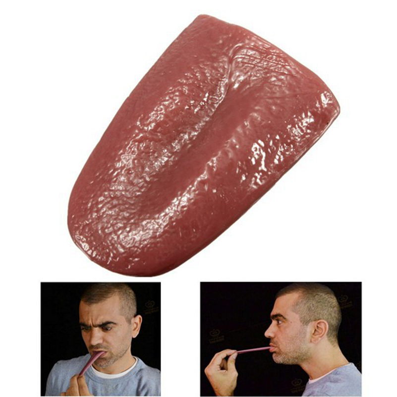 1 Piece Trick Funny Rubber Prank Fake Tongue Stretch Magic Fake Tongue Toys For Joke Trick Novelty Horror Magic Toys For Gifts