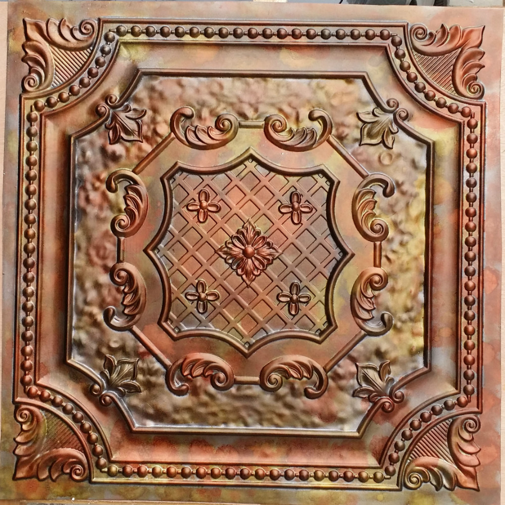 Pl04 Faux Tin Finishes Aged Colourful Copper Ceiling Tiles
