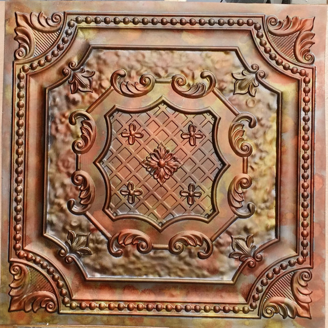 Pl04 Faux Tin Finishes Aged Colourful Copper Ceiling Tiles Three Dimentional Decor Wall Panels 10tiles Lot