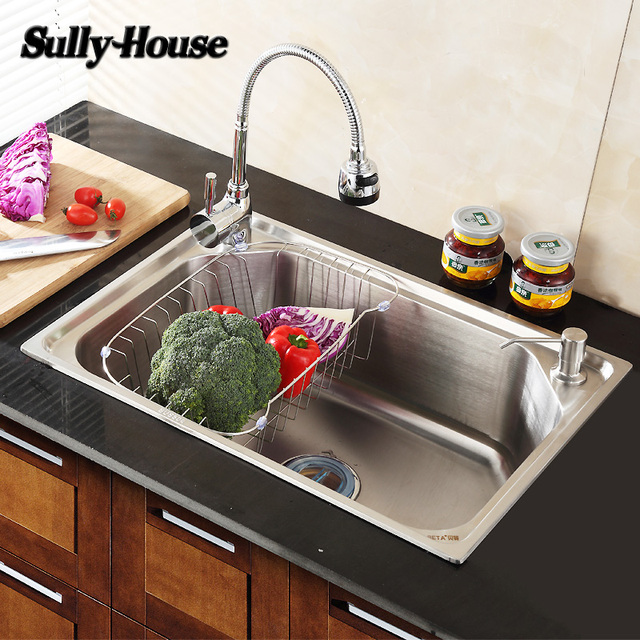 Sully House Brushed 304 Stainless Steel Kitchen Sinks Rectangular ...