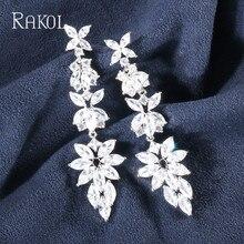 RAKOL Luxury Especially Long Refine Marquise Cut White Sparkling Zircon Stacked Women Wedding Dangle Earrings  Jewelry