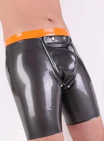Sexy Latexhöschen Sexy silberne Gummi-Fetisch-Shorts für Herren Größe anpassen