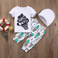 2pcs Baby Set Cute Newborn Kids Baby Boy Girl Clothes Summer Short Sleeve Letter T-shirt+Long Ice Cream Pants+Hat Baby Clothes