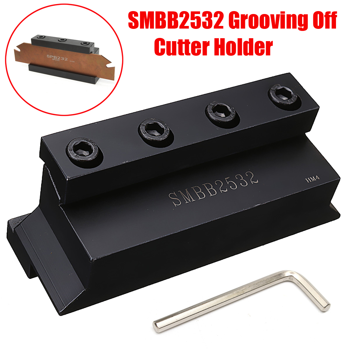 New 1Pc SMBB2532 Cut-Off Blade Holder 25mm for Lathe Cutting Tool with T Wrench for CNC Milling Cutter Tool free shiping smbb 2526 part off block indexable parting off tool stand holder 25mm high blade 26mm tool post for lathe