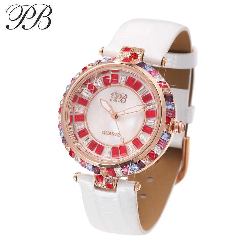 PB xfcs женские наручные модные модные ремешок для часы женские платье пиджак xfcs цветные Кристальные Циферблат Водонепроницаемые кожаные красные необычные часы наручные women watches