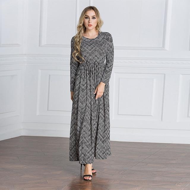15644ab6db New Arrival Muslim Islam Summer Casual Long Dresses O Neck Slim Waist  Design Long Sleeves Abayas Dubai Turkish Clothing 5079