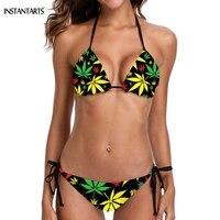 ca3f067e2fa4 INSTANTARTS Jamaican Colorful Hemp Leaves Weed Pattern Woman Sexy Bikini Set  Summer Padded Halter Swimsuits Bathing