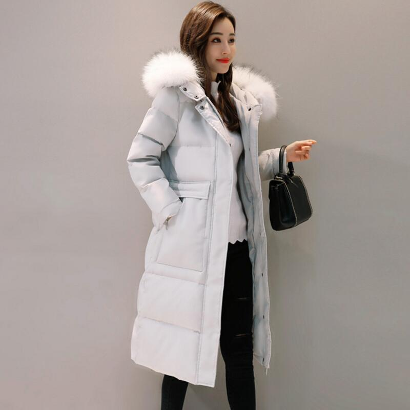 2018 New Winter   Coat   Female Fur Collar Hooded Jacket Thick Warm Women White Duck   Down     Coat   Padded Women Long Parkas YP1242