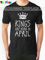 Teeplaza Band T Shirts Crew Neck Short Sleeve Christmas Mens Kings Are Born In April Shirt