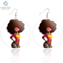 SOMESOOR Afro Amazing Black Hair Art Wooden Drop Earrings Bubble Gum Poster Girl Pattern African Wood Jewelry For Women Gifts(China)