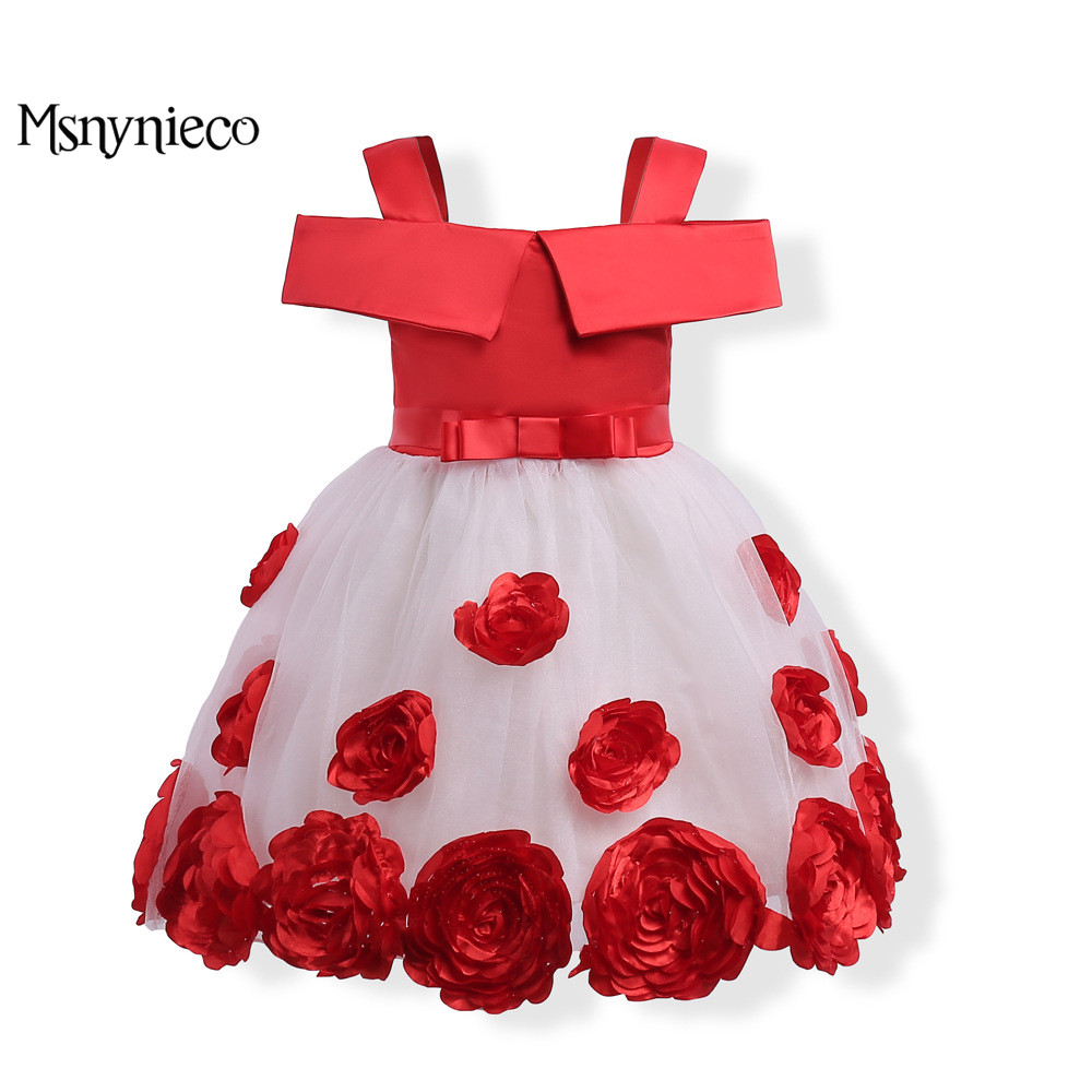 Christmas Dress Kids Girls Birthday Party Wedding Princess tutu Dresses For Baby Girls Clothes 2017 Brand Flower Children Dress princess girl party dress children wedding birthday tutu dress infant lace corchet christening gown baby girls dresses clothes