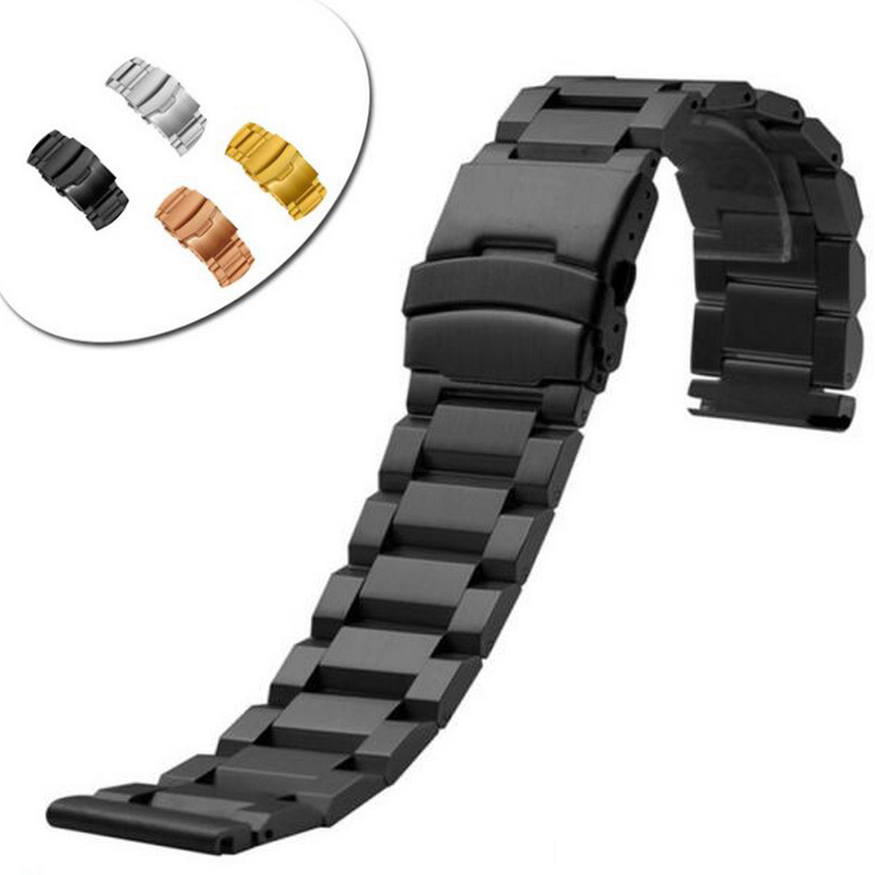 18mm 22mm 24mm Stainless Steel Watch band Strap Bracelet Watchband Wristband Folding Clasp With Safety Black Silver Gold in Watchbands from Watches