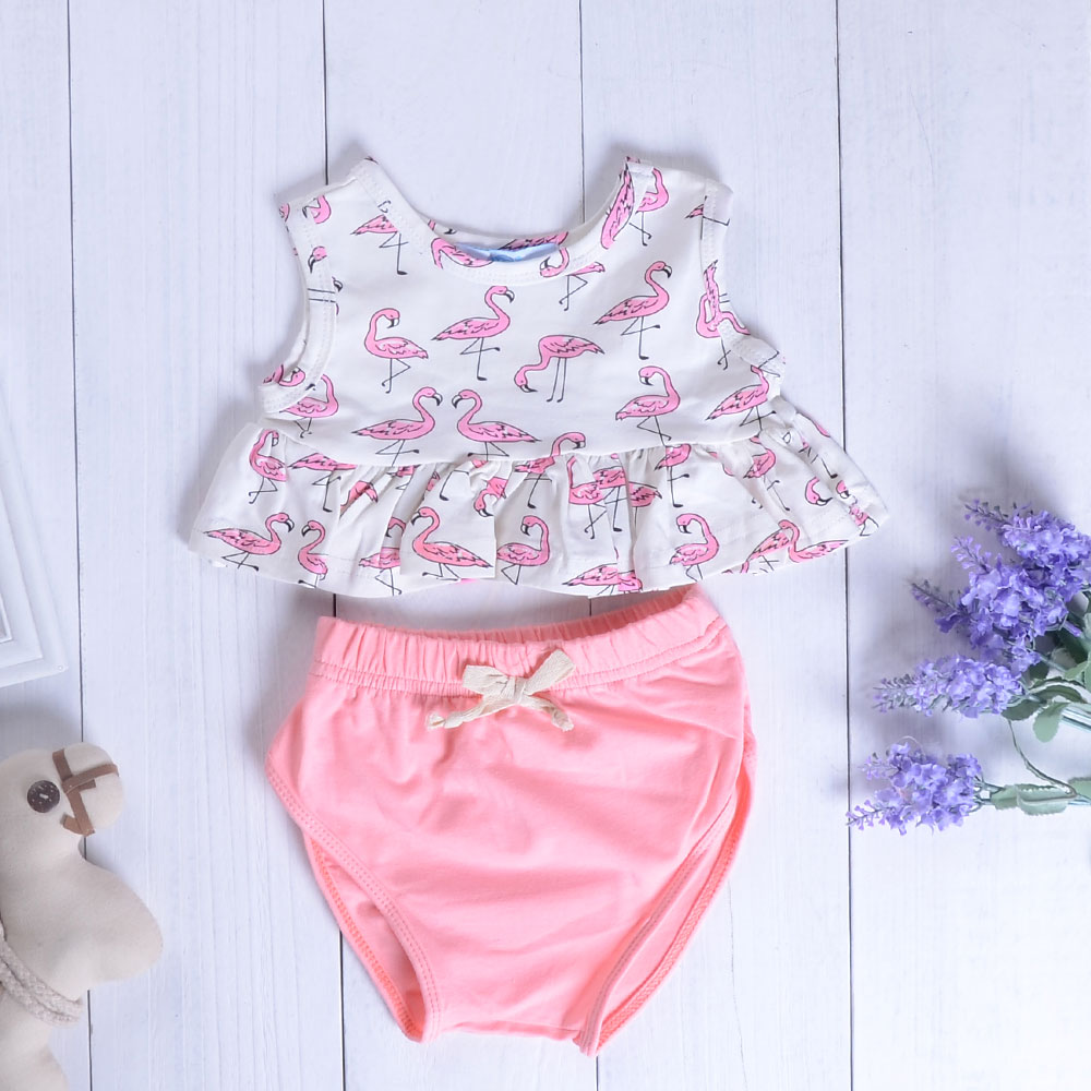 Infant Baby Girls Clothing Sets Sleeveless Flamingo Print Ruffles White Tops+Bow Pink Shorts 2pcs Bebe Girls Kids Clothes Suits