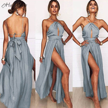 bb5c40bdcf279a HalouWind Sexy Lady Backless Halter Maxi Dress High Level Gray Bandage Lace- up Wrap