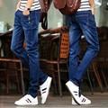 2016 осень женская мода slim fit досуг хлопок жан карандаш брюки/мужской полноценно линии пряжки украшенные досуг джинсы 27-36