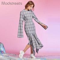 Modstreets Women Winter Vintage Plaid Day Dress Long Sleeves Back Zipper Casual Street Wear Party Asymmetrical