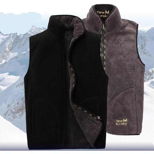 2018 ใหม่ผู้ชาย Warm Fleece Vest ฤดูหนาวหนา 2 ด้านสวมใส่สบายๆเสื้อกั๊ก Windproof เสื้อแขนกุด