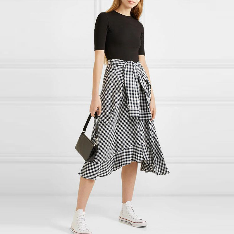 2019 été haute qualité Style MAJE robe de piste femmes Plaid Patchwork irrégulière robe Midi femme vacances robes de mode