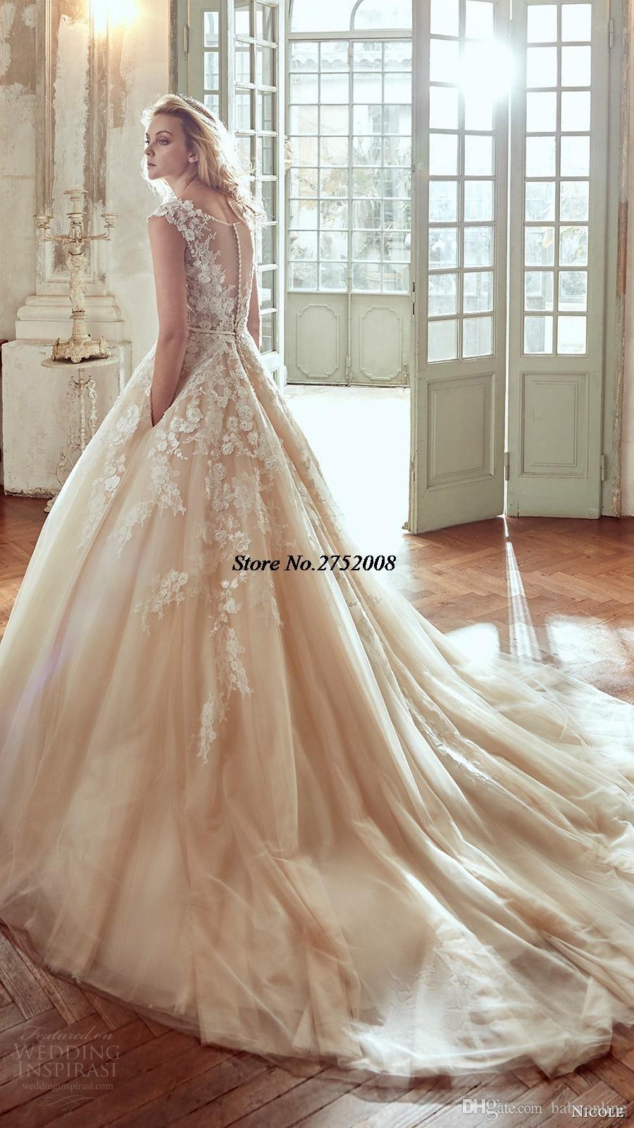 4a6edf72656b 2017 Blush Vestios De Novia 3D-Floral Ball Gown Wedding Dresses Lace Button  Back Luxury Arabic Bridal Gowns with Pockets WB49