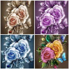 Full Square Round Flowers Daimond Painting Embroidery Blooming Roses Diamond 5D Diy Rhinestones Diamant