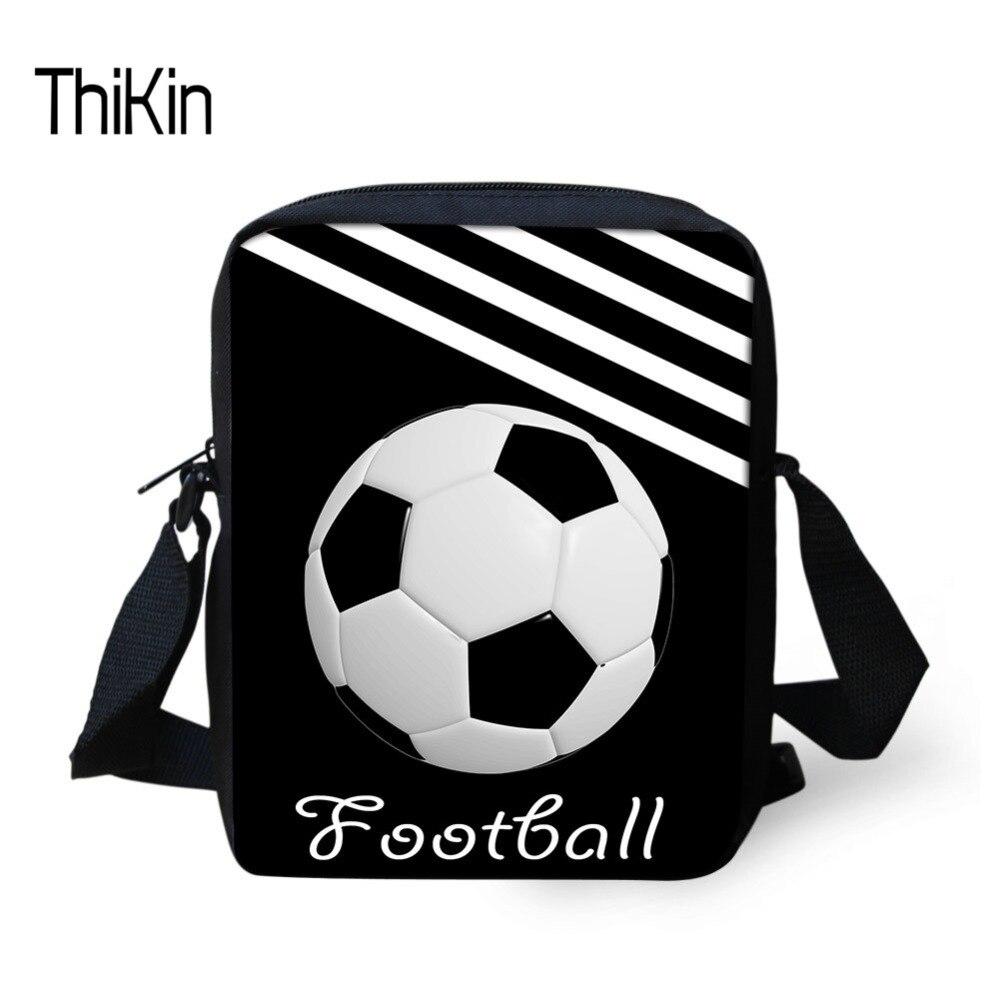 THIKIN Men Messenger Bag Foot-ball Pattern Shoulder Bag for Teenager Boys School Crossbody Bag Phone Small Bolsa Daypack 2018