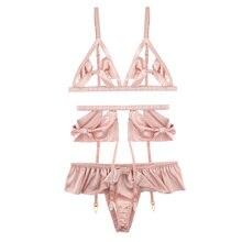 yhotmeng new Pink Hollowed Sexy Ultra Thin Cup Bow Tie bra Panty Underwear Garter Belt Set
