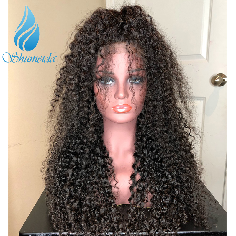 SMD 13*6 Brazilian Kinky Curly Lace Front Wigs for Black Women Middle Ration Remy Human Hair Glueless Lace Wigs Bleached Knotes