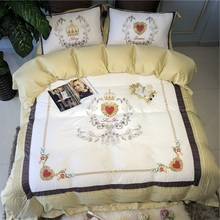 New Love Embroidery 60S Egyptian Cotton Yellow White Bedding Set Queen King Size Duvet Cover Bed sheet/Linen Pillowcases 4/7pcs