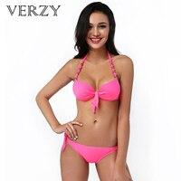 Cute Women 2016 New Bikinis Push Up Padded Pure Colors Womens Sexy Bikini Triangle Adjustable Briefs