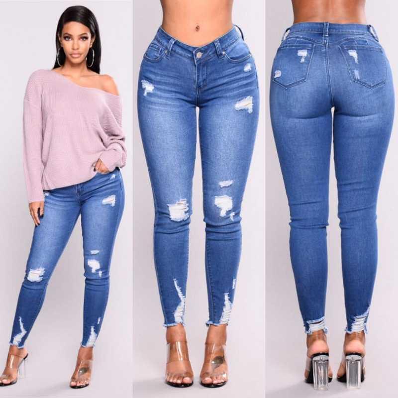 Новинка 2019, синие джинсы, женские брюки, высокая талия, тонкие, рваные, джинсы, повседневные, тянущиеся, обтягивающие, джинсы