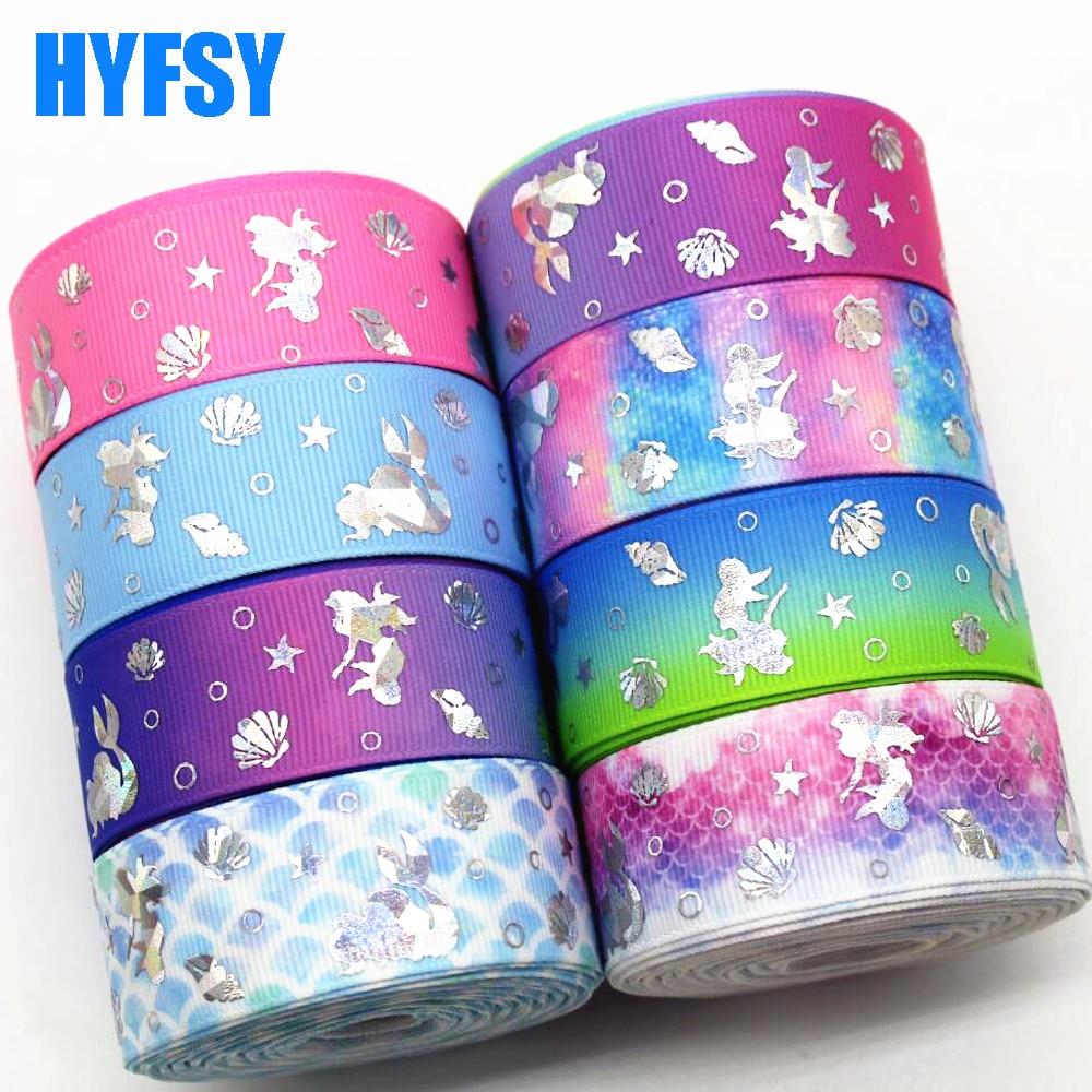 Hyfsy 10050 25 мм Лазерная серебро рыбы лента 10 ярдов DIY головные уборы ручной работы материалы Свадебные украшения подарочная упаковка Grosgrain