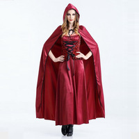 Queen Of The Castle Costume Cosplay For Adult Halloween Cosplay Adult Costumes Beautiful Red Jumpsuit And Cloak With Hat