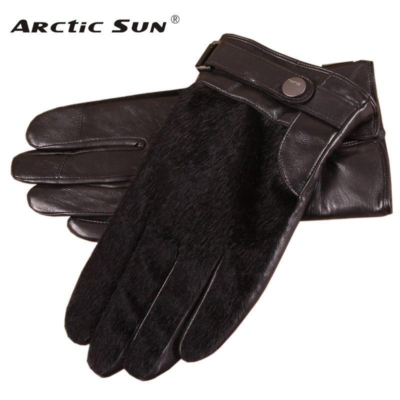 2019 nouveau noir hommes gants en peau de mouton mâle automne hiver mince velours épaissir chaud en cuir véritable hommes tactile gants nouveau EM018NQF1