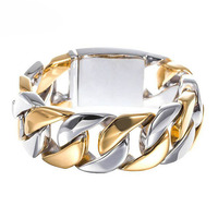 Mens Huge Heavy Silver Gold Tone Stainless Steel Curb Cuban Wide Chain Bracelet 31mm9