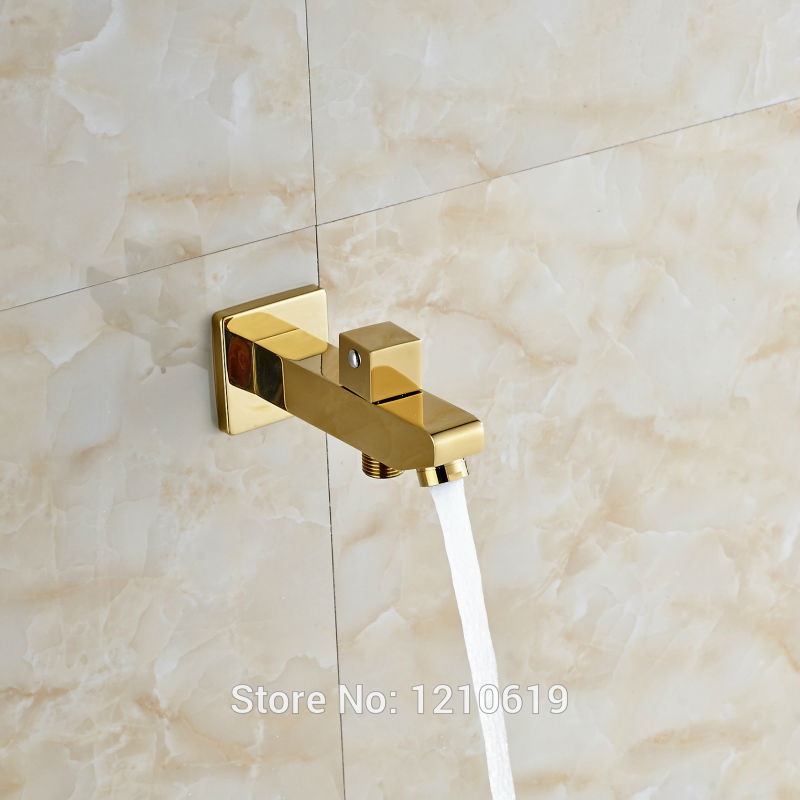 Newly Free Shipping Luxury Gold Plate Replacement Tub Tap Spout Hose Pipe Adapter Water Outlet