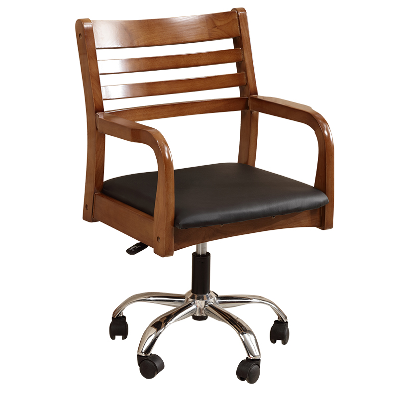 Modern Wooden Bankers Desk Chairs With Leather Padded Seat Black Office Furni
