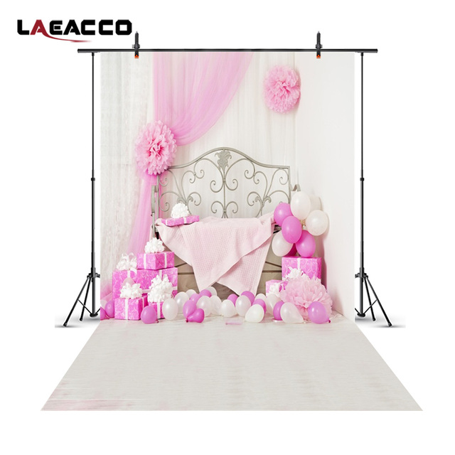 Laeacco Pink Princess Bedroom Curtain Gifts Scene Baby Photography  Background Vinyl Seamless Backdrops Props For Photo