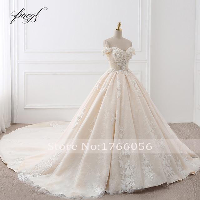 Fmogl Royal Train Sweetheart Ball Gown Wedding Dresses 2021 Appliques Flowers Vintage Lace Bride Gowns Vestido De Noiva 3