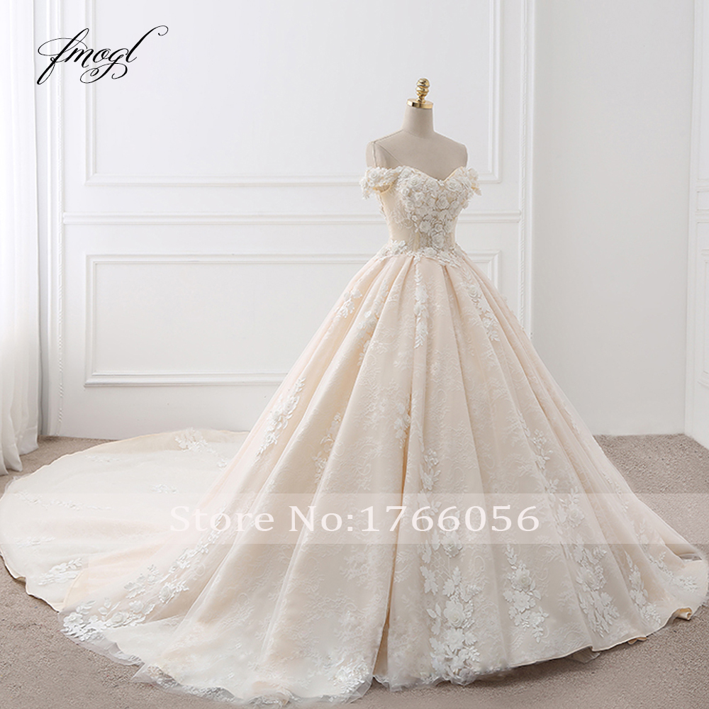 Image 3 - Fmogl Royal Train Sweetheart Ball Gown Wedding Dresses 2020 Appliques Flowers Vintage Lace Bride Gowns Vestido De Noivavestido de noivade noivagown wedding -