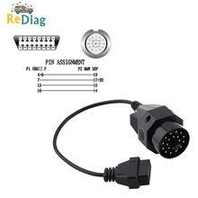 Samochód kabel przedłużający OBD OBD II Adapter dla BMW 20 pin do OBD2 16 pinowe złącze żeńskie e36 e39 X5 z3 dla BMW 20pin do 16pin tanie tanio Kable diagnostyczne samochodu i złącza NONE Diagnostic Cable 40cm 0 13kg Plastic Oxchelod