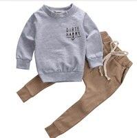 2019 г., комплекты одежды для новорожденных серые хлопковые топы с принтом «Scallywag Crew» + штаны цвета хаки повседневная одежда для малышей