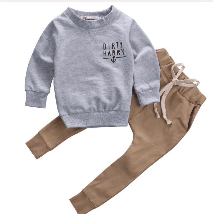 "2019 Trend Style Newborn Kids Baby Clothing Sets ""Scallywag Crew"" Grey Cotton Tops+ Khaki Pants Baby Casual Clothes Outfits"