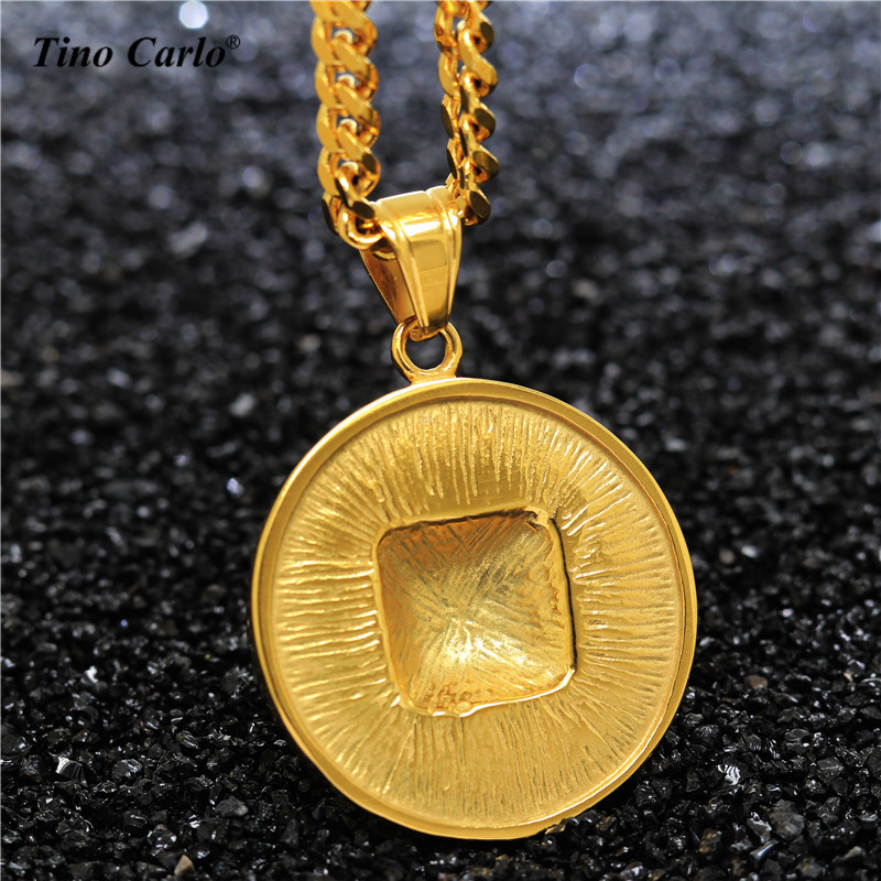 Tino Carlo Mens Pyramid Egypt Necklace Classic 3D Pyramid Dog Tag Medal Necklace S.Steel Golden Hip Hop Mans Jewelry JL1122