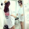 Maternidad del verano de impresión de punto diseño largo t camisa manga corta camiseta embarazada ropa de maternidad
