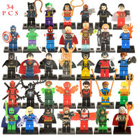 34pcs Lot Avengers LegoINGlys Marvel DC Super Hero Spiderman Building Blocks Compatible With LegoINGly Batmam Toys