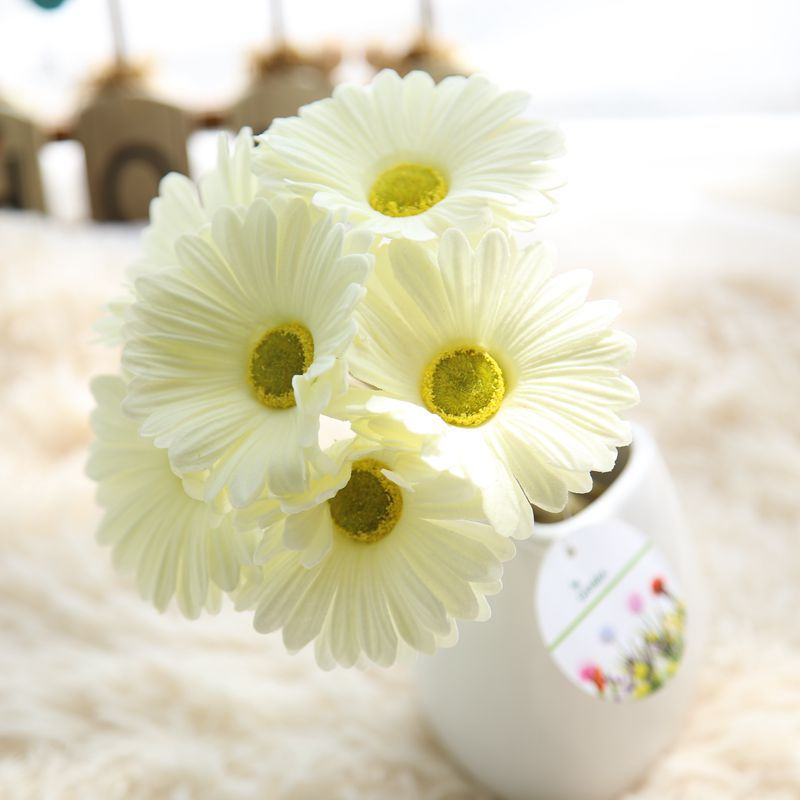 CAMMITEVER 6pcs Artificial Gerbera Small Silk Sunflower Drop Ship Flower Wedding Decoration DIY Scrapbooking Craft